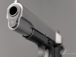 A close up shot of the Colt 1911