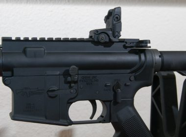 AR-15 rifle with a flip up sight