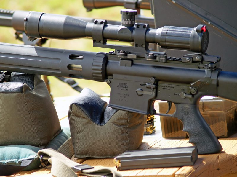 AR10 Rifle with a scope