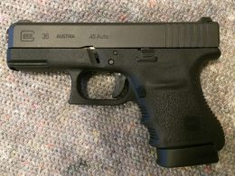 A close up shot of the Glock 36