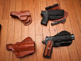Leather Paddle Holsters and guns