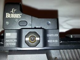 A close up shot of the Burris reflex sight
