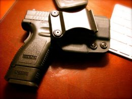 pistol gun Springfield XD 3-inch with a holster