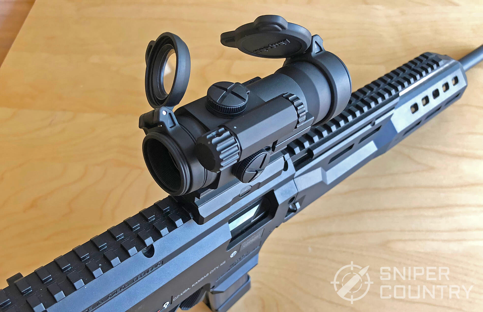 Aimpoint Pro Red Dot mounted on Scorpion EVO