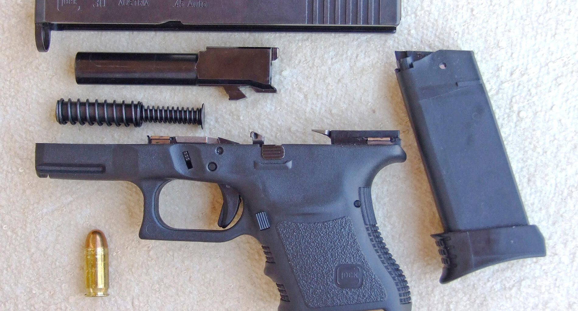 Glock 30 in .45 ACP disassembled