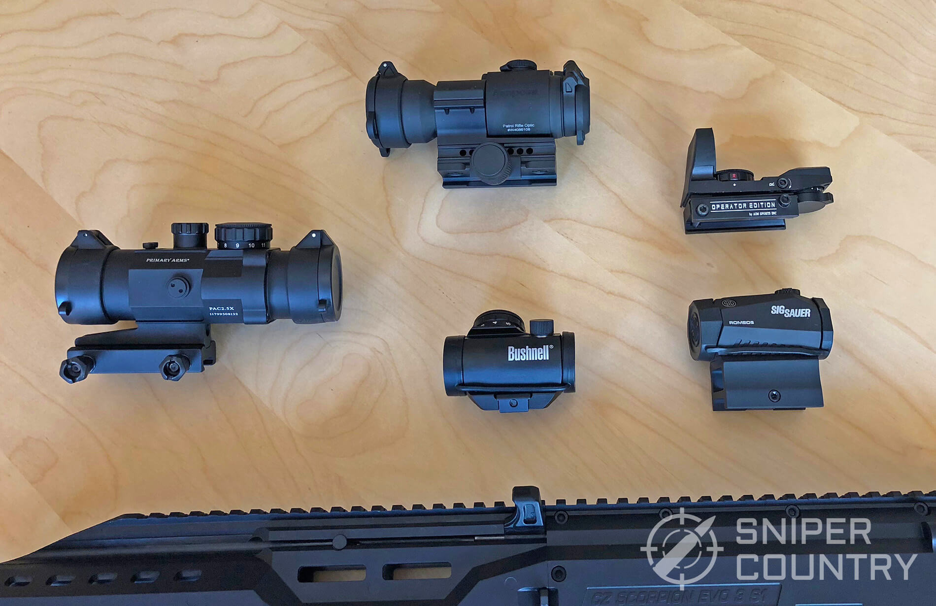 Selection of red dot sights and 9mm carbine