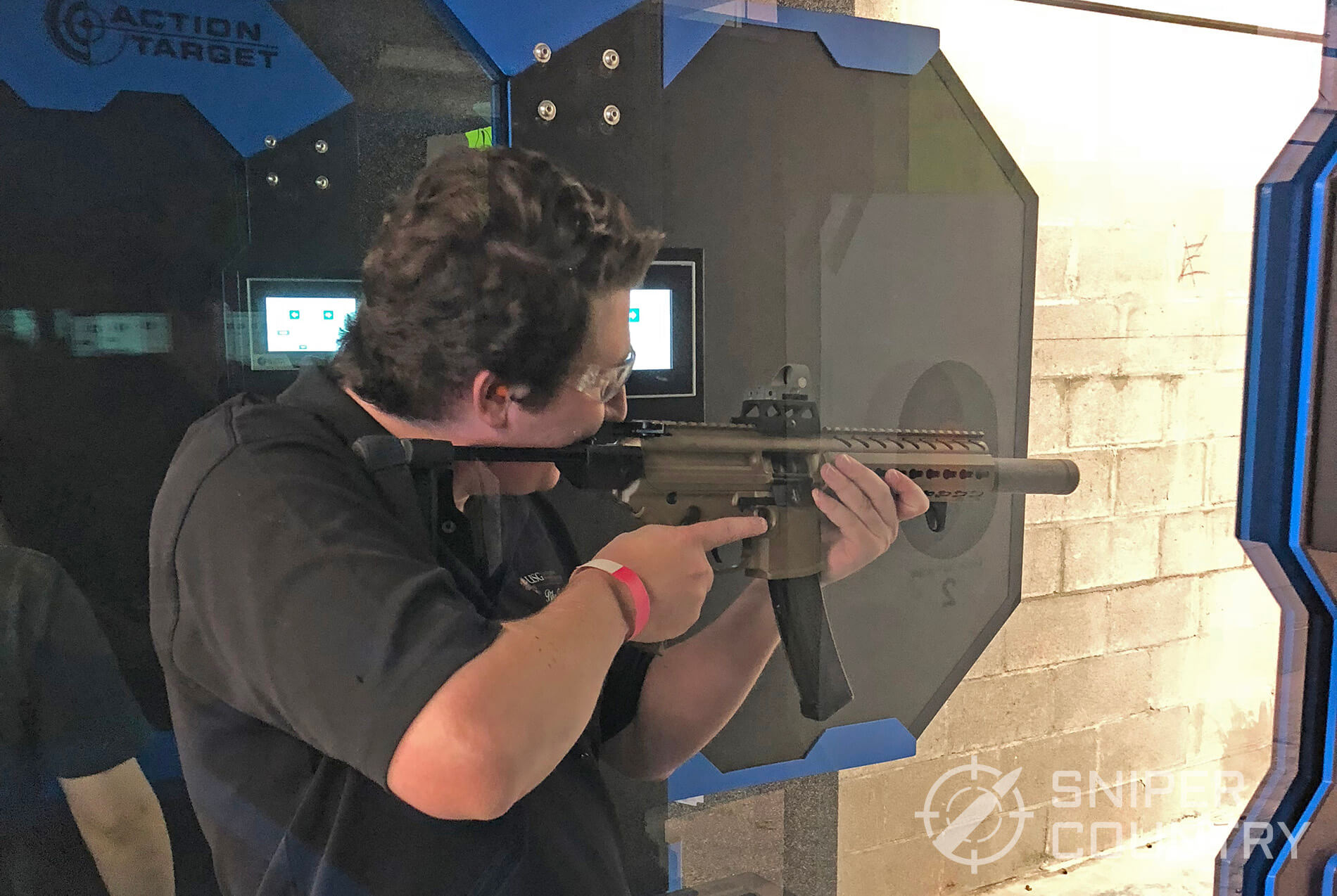SIG MPX 9mm carbine shooting on the range