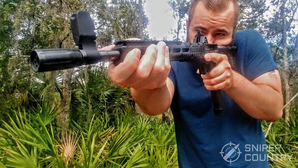 Travis aiming with the Kel-Tec SUB-2000
