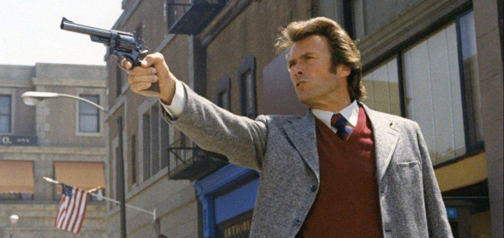 Dirty Harry aiming with his Smith and Wesson Model 29