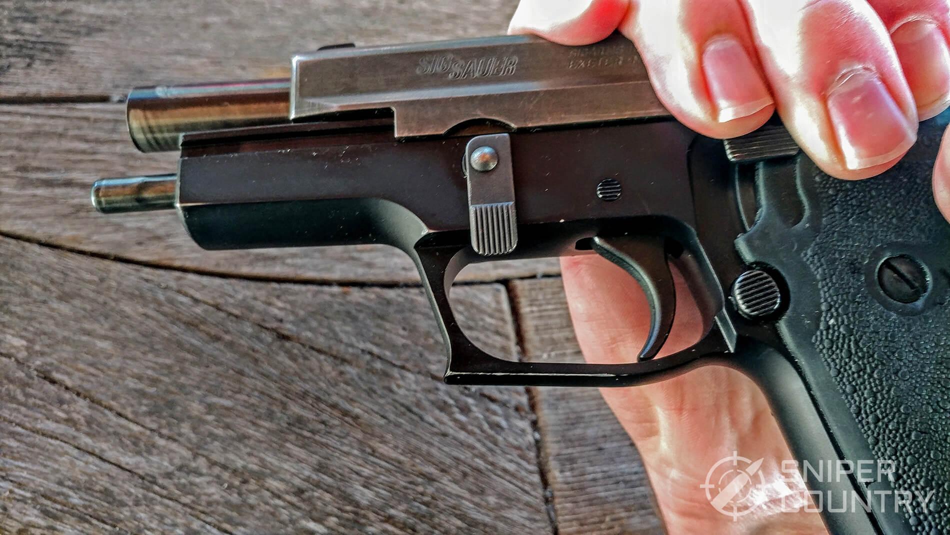 Sig Sauer P220 pulled Slide rearward