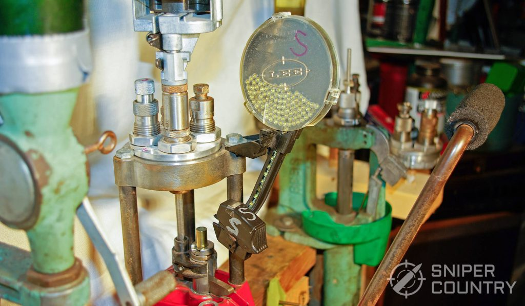 Lee Primer Dispenser on Reloading Press