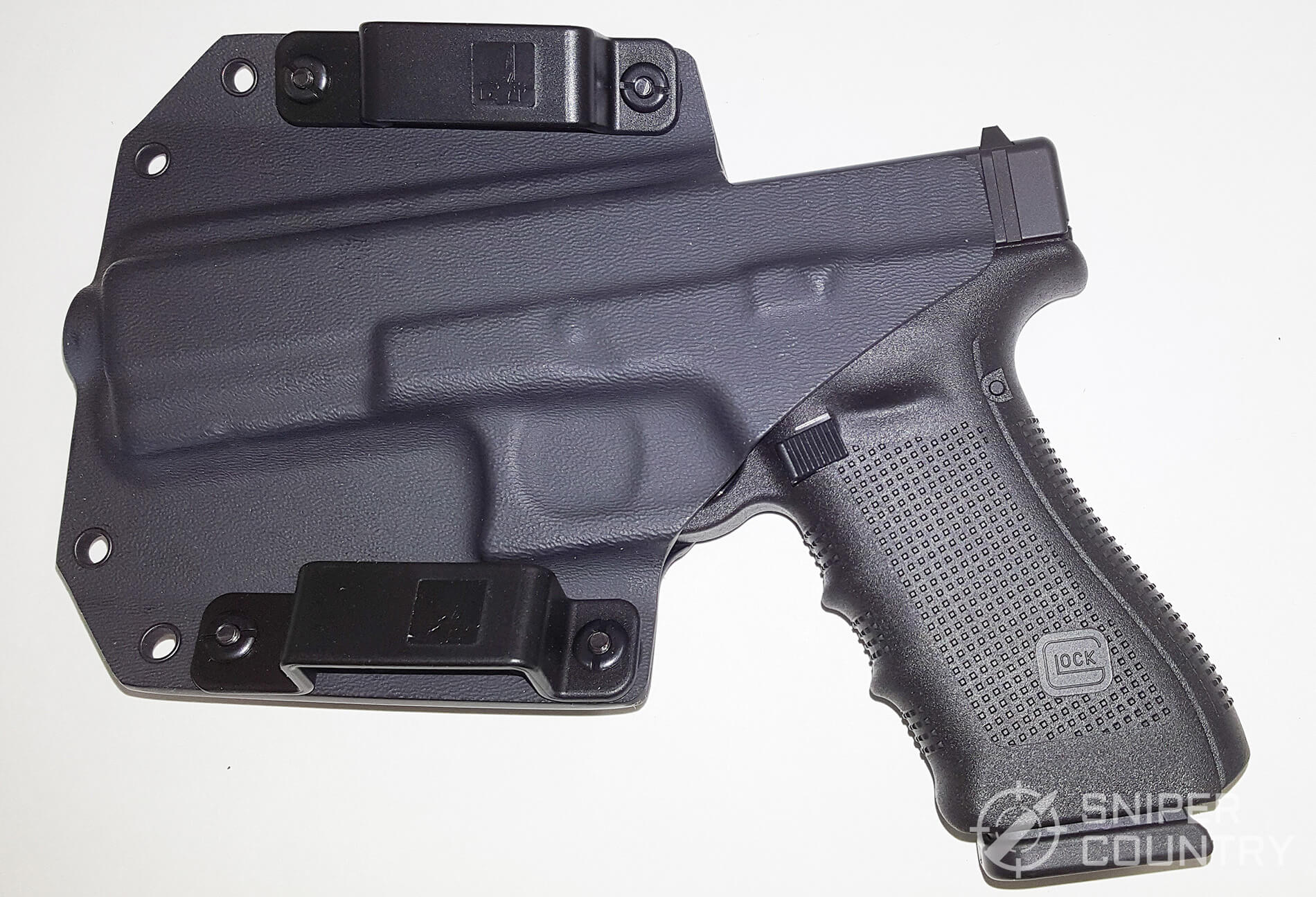 Bravo Concealment BCA OWB gun in holster inside