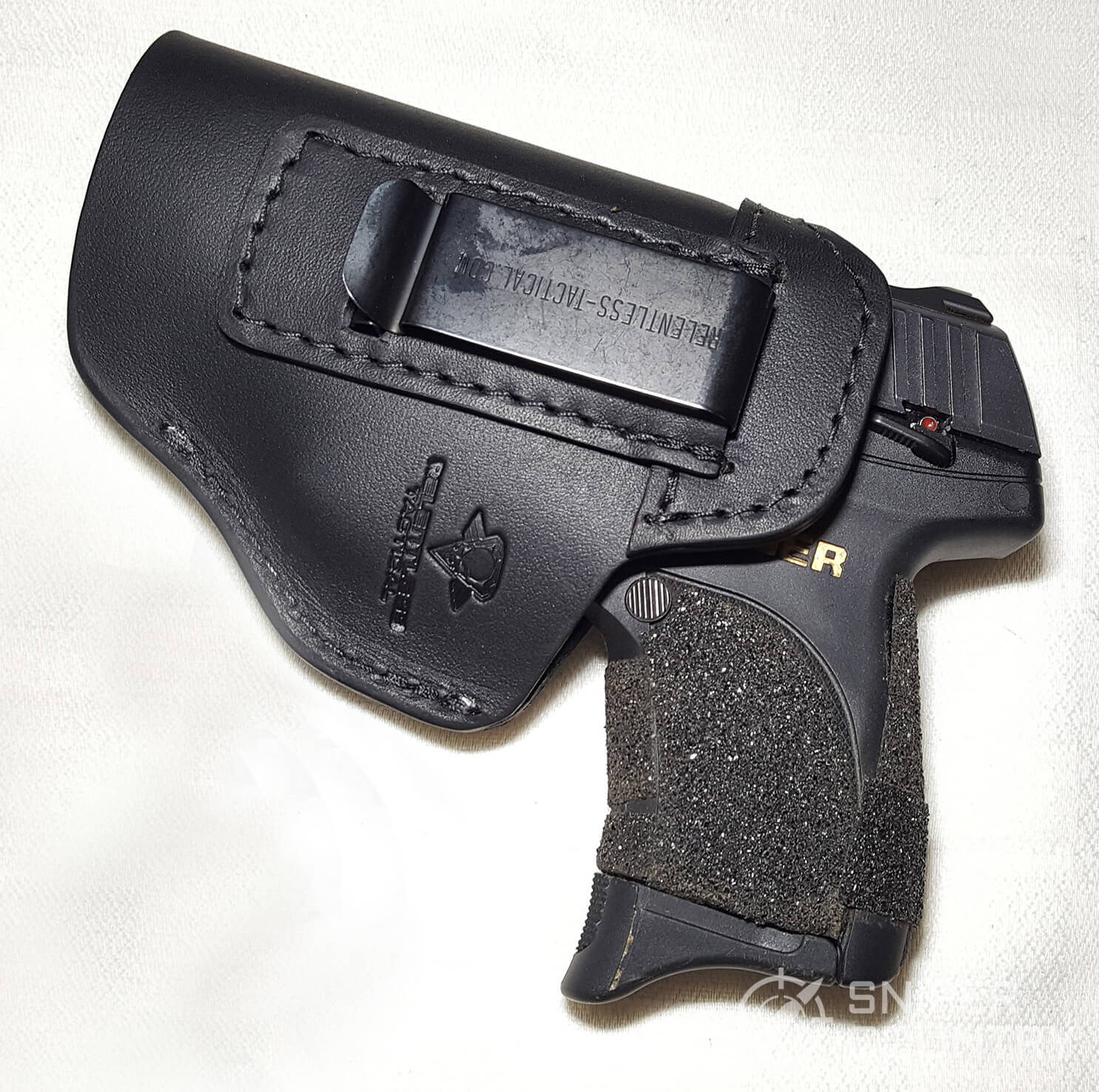 Relentless Tactical IWB Leather clip side with gun