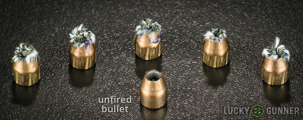 unfired vs fired 90 Grain Hydra-Shok JHP bullets