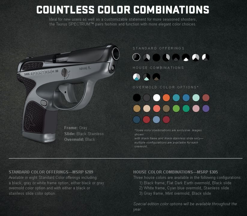 Taurus Spectrum color-combinations