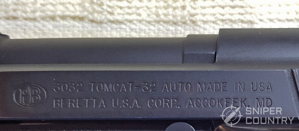 Beretta 3032 Tomcat left slide engraving