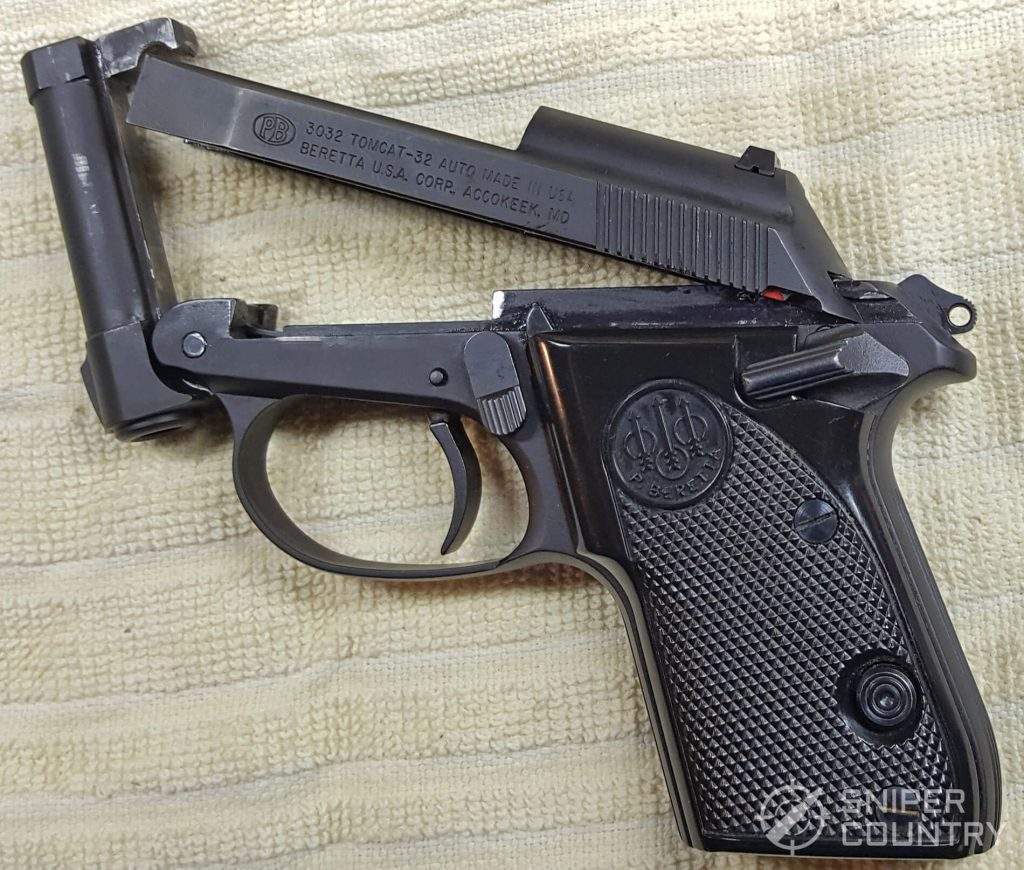 Beretta 3032 Tomcat slide tipped up