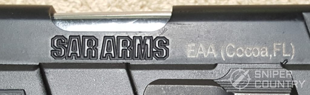 SAR K2P brand stamp on frame
