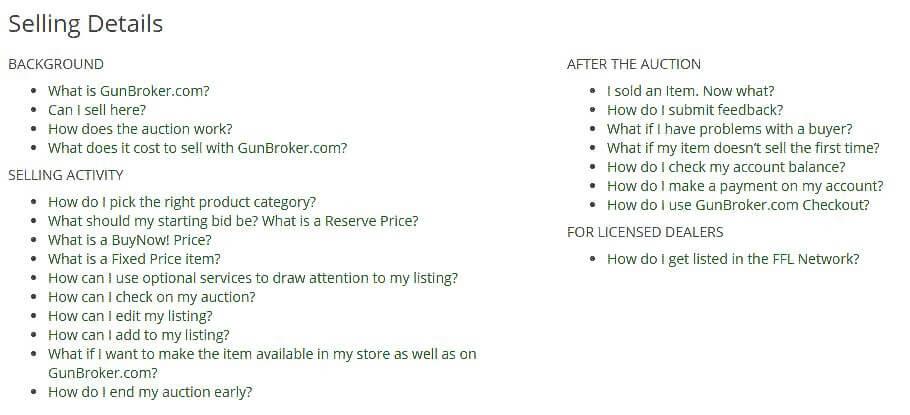 Gunbroker.com selling details