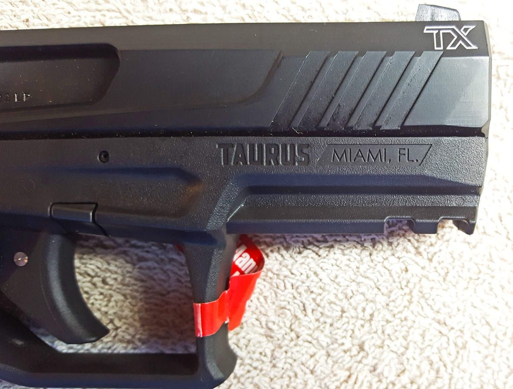 Taurus TX22 right slide engraving