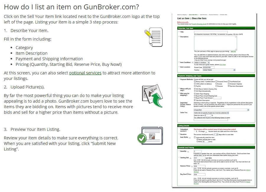 how to sell at gunbroker.com