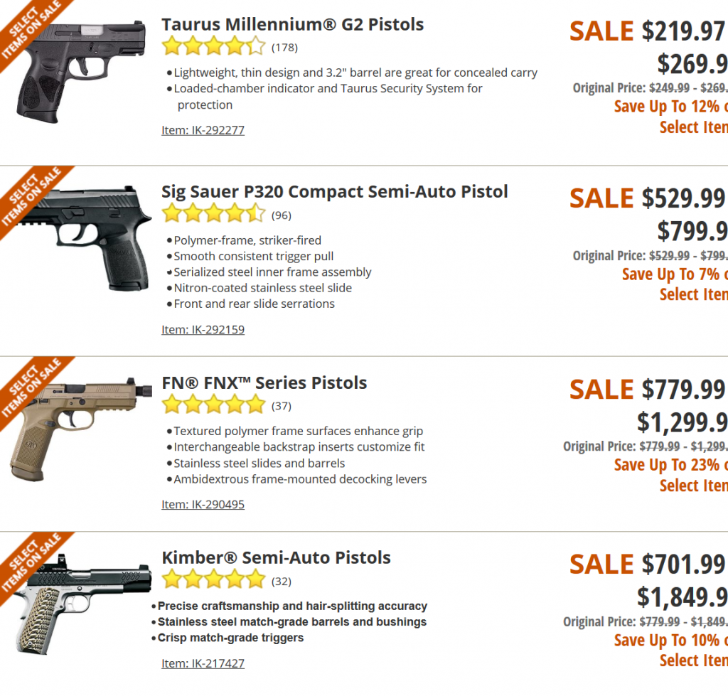 Cabelas Guns on Sales