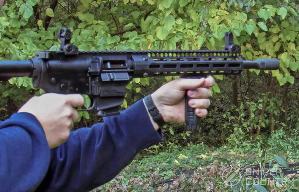 Troy Industries A4 9mm Carbine being shot