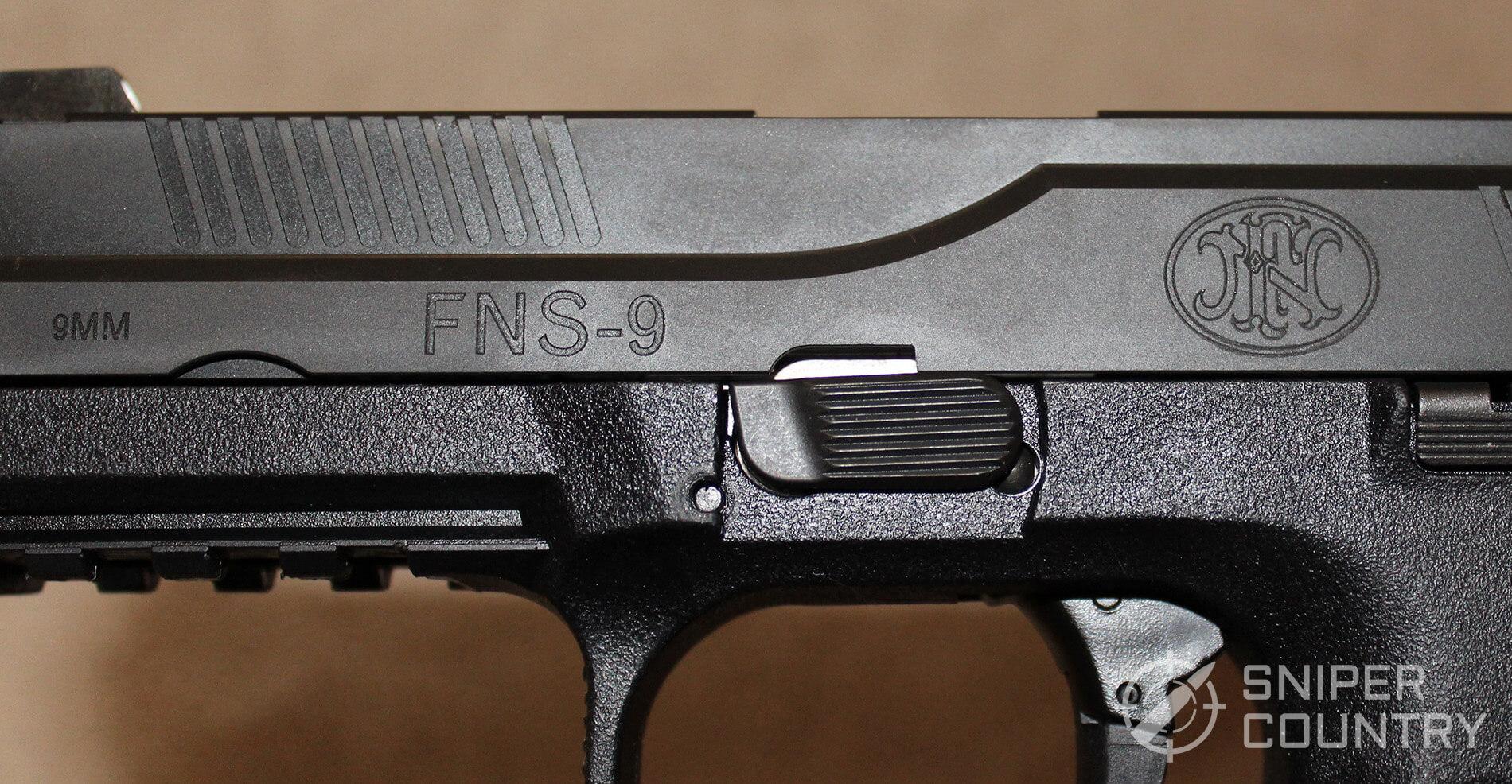 FNS-9 left side slide engraving