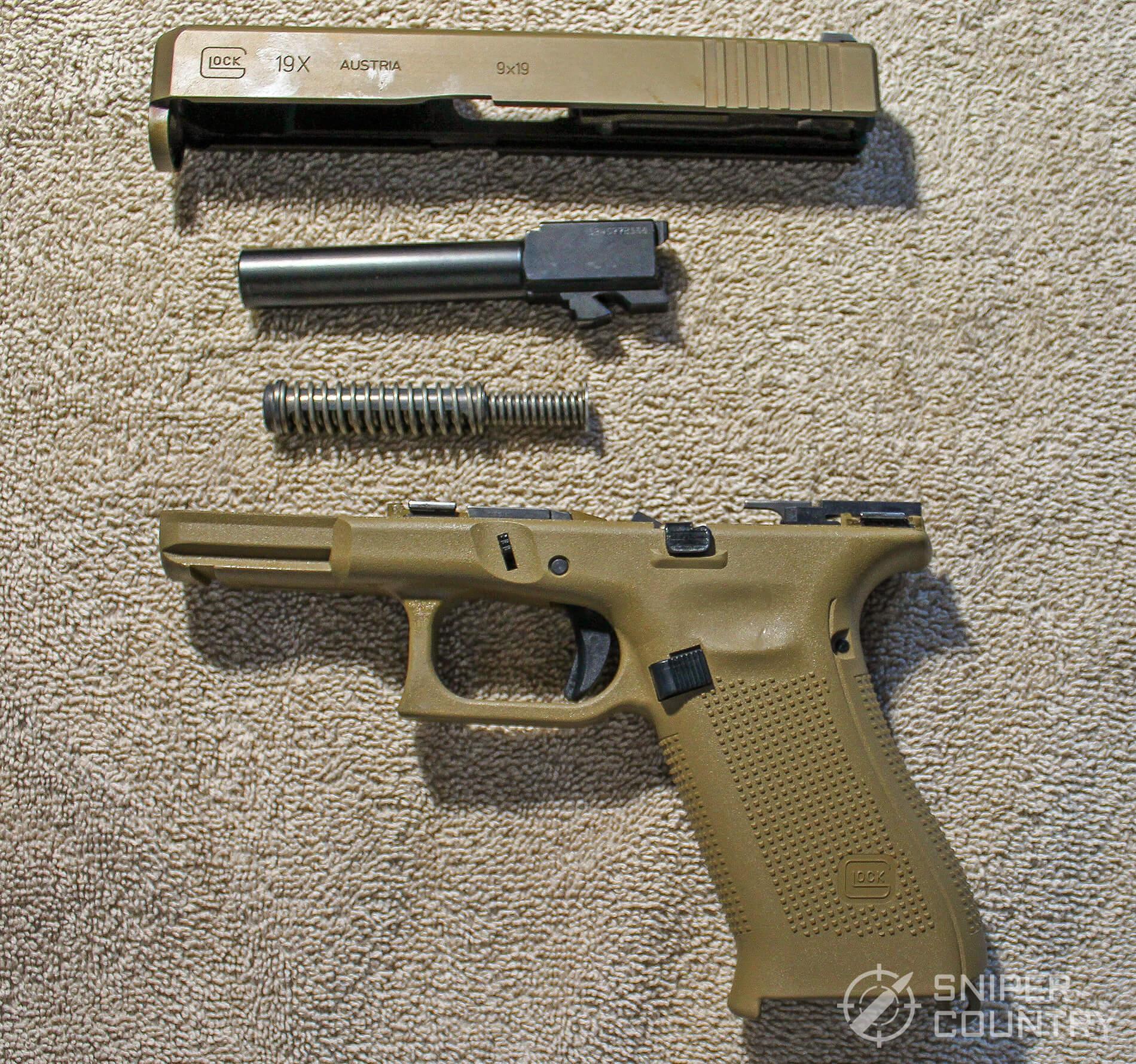 Glock G19X field stripped