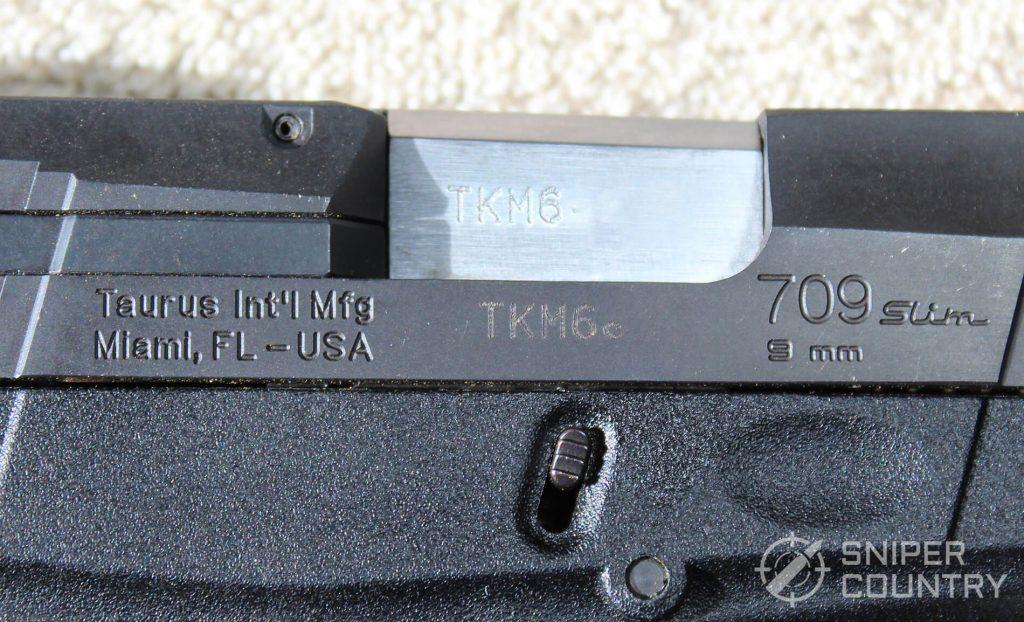 Taurus 709 Slim engraving right side
