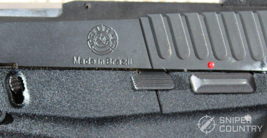 Taurus 709 Slim engraving thumb safety left side