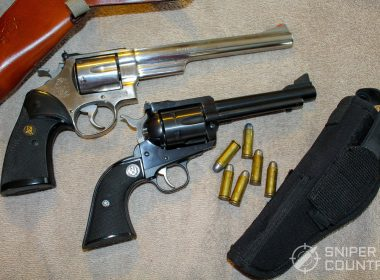 Ruger Blackhawk .45 Colt and S&W 629 together and holster