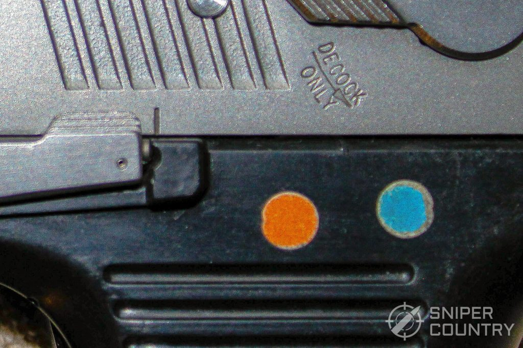 Ruger P97 takedown marks