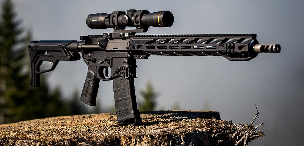 Rifle on wood