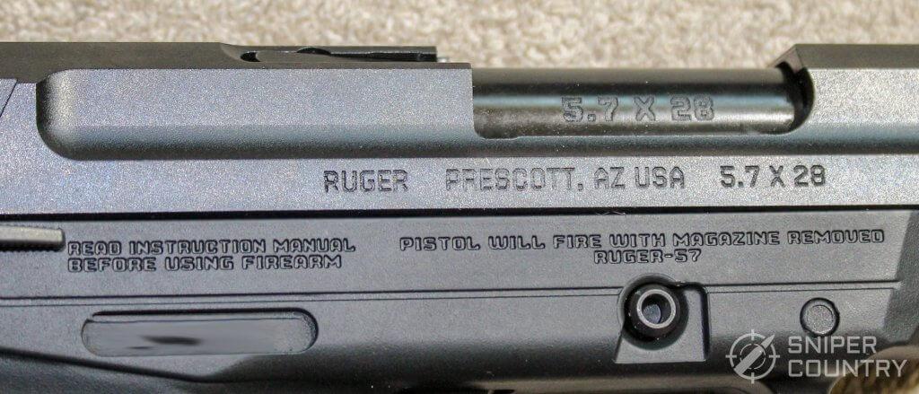 Ruger-57 frame slide engraving right
