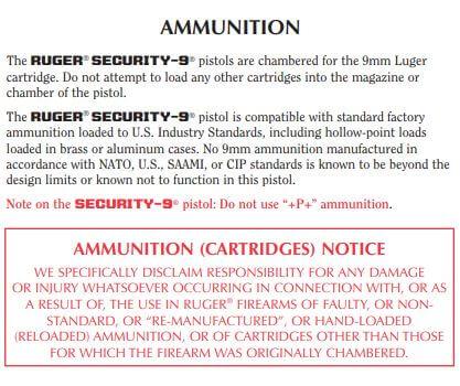 ammunition for Ruger Security-9