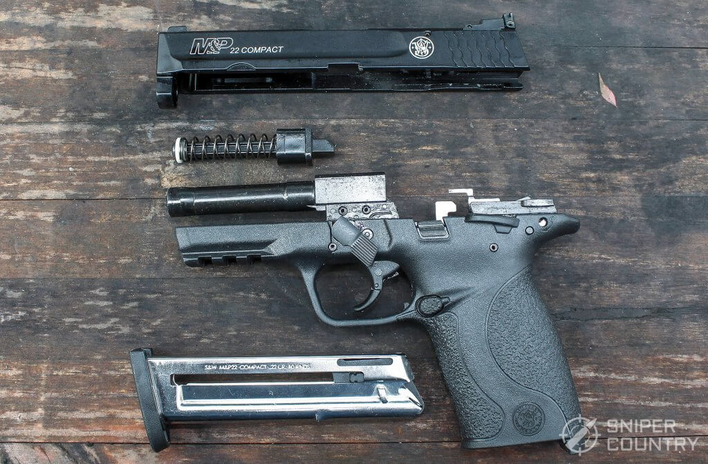 field stripped Smith & Wesson M&P 22 Compact