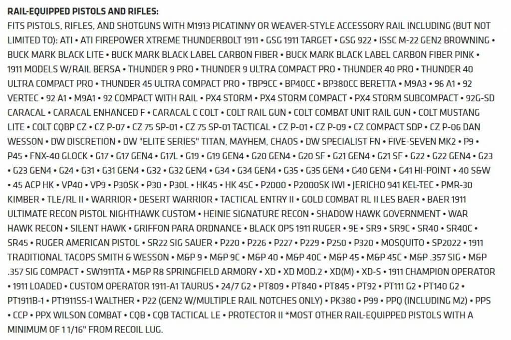 CMR-201 Rail Master Universal Laser Sight fit chart