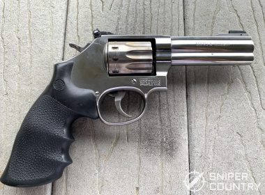 The right side of the Smith & Wesson Model 617. Note the windage adjustment screw for the fully adjustable rear sight.