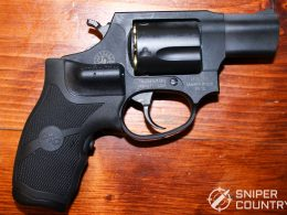 Crimson Trace Laser Grips demonstrated on revolver