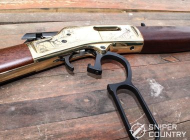Close up show of the Henry Big Boy .44 Magnum rifle showing its action open