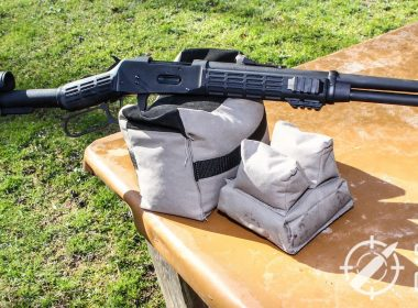 Title shot of the Mossberg 464 SPX on the gun bag