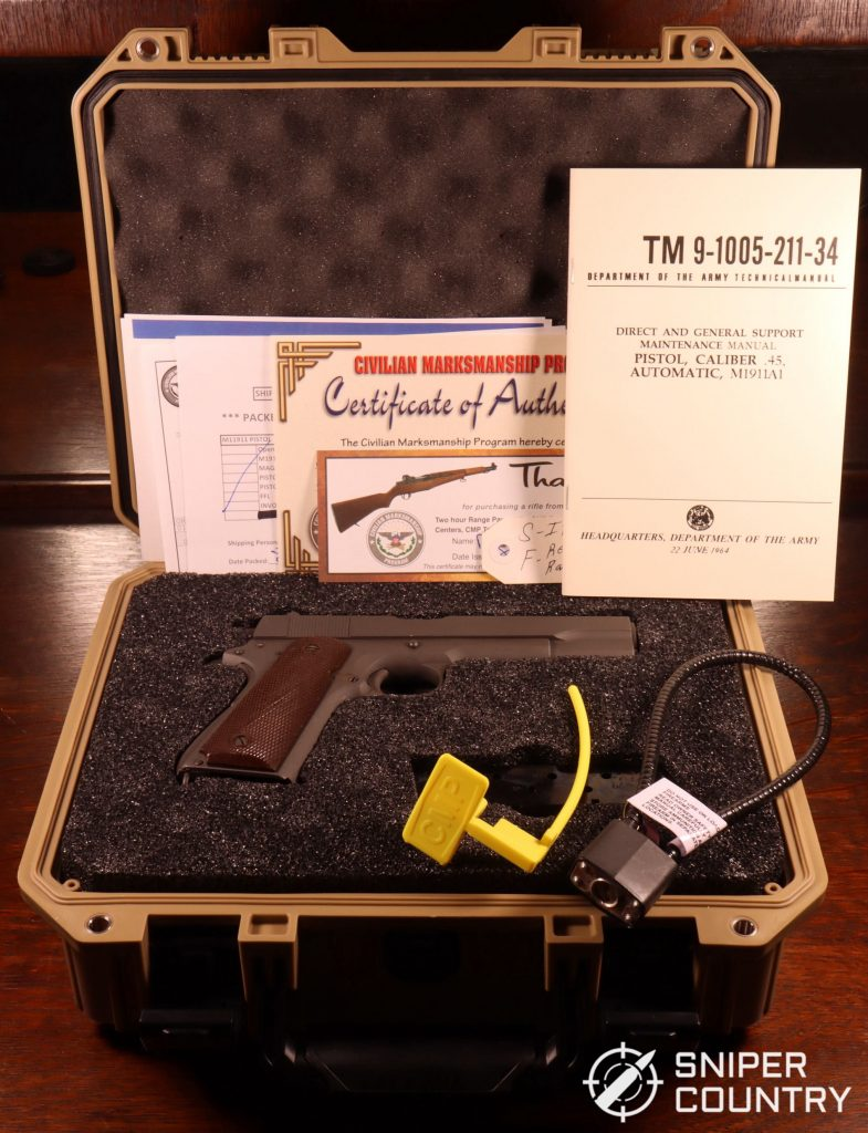 Unboxing the CMP M1911. The box is shown with certificate of authenticity.