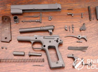 The detail stripped CMP M1911A1. There was no evidence of damaged or significantly worn parts. Other than a refresh of the springs with a kit from Wolff Gun Springs, the gun remains true to its arsenal rework from 1986.