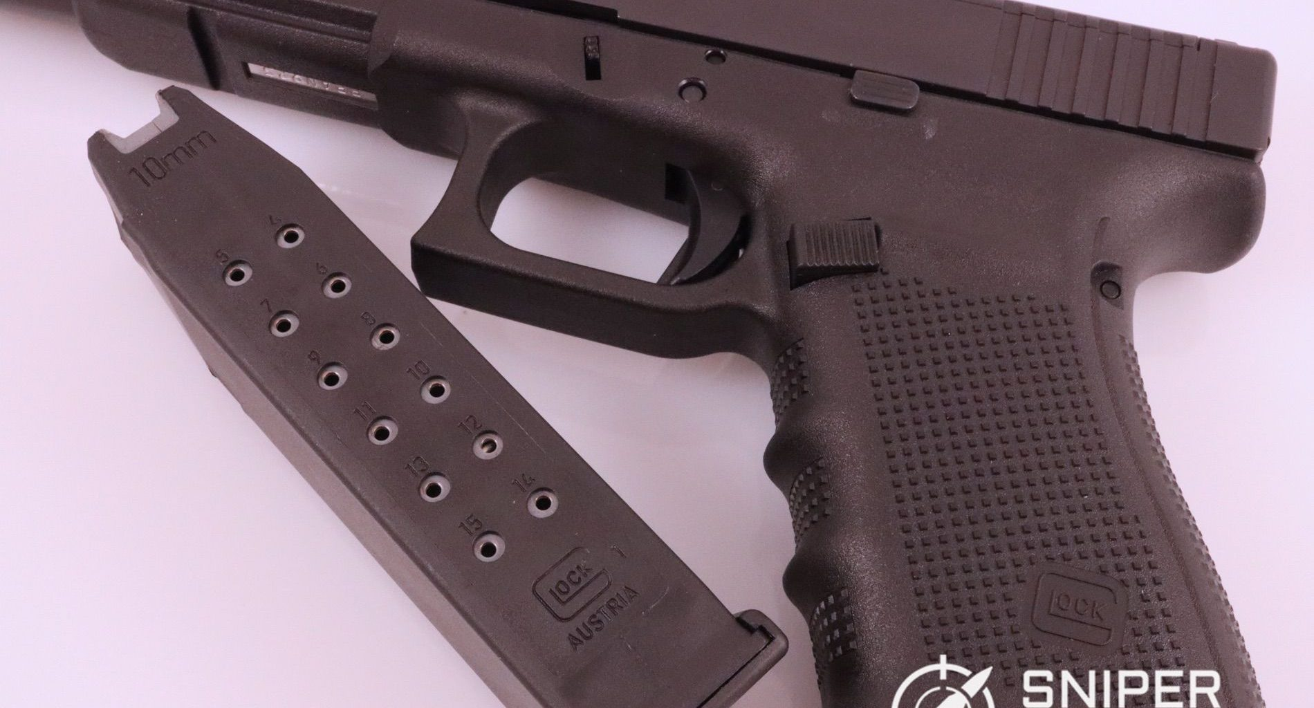 The standard capacity Glock 40 magazine holds 15 rounds, with a 16th round in the chamber.