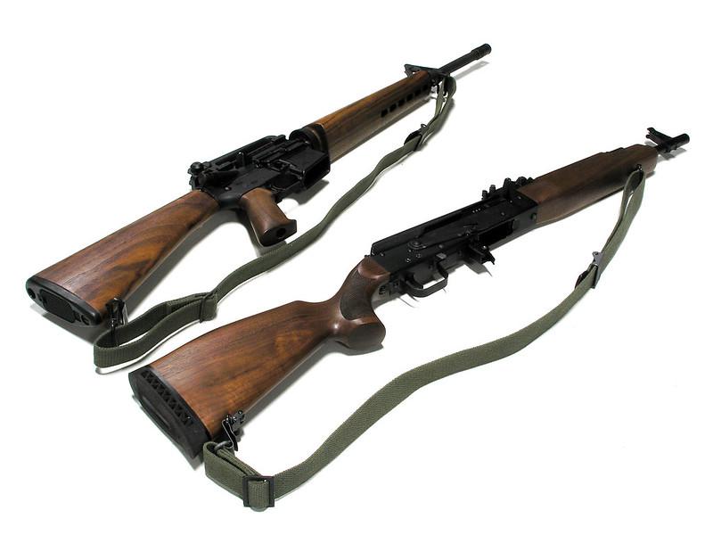 Best AR 15 Slings Nylon sling on walnut stock assault rifles