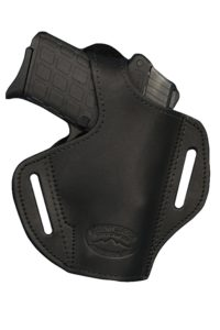 Barsony Black Leather Pancake Holster for Ruger SR9C